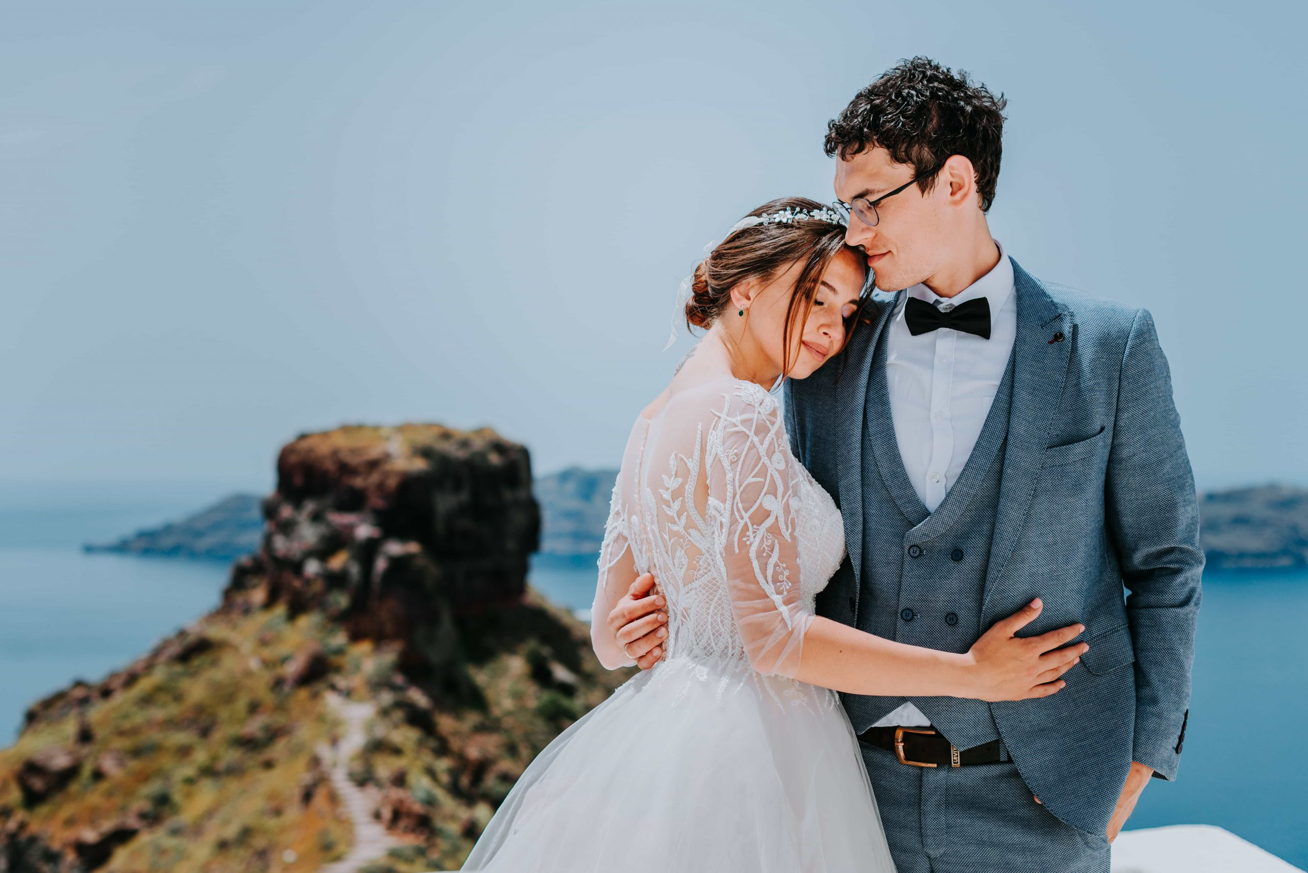santorini wedding couple 2g